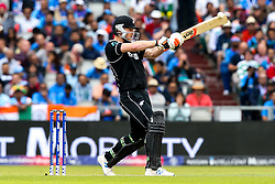 James Neesham of New Zealand tries to play a pull shot - Mandatory by-line: Robbie Stephenson/JMP - 09/07/2019 - CRICKET - Old Trafford - Manchester, England - India v New Zealand - ICC Cricket World Cup 2019 - Semi Final