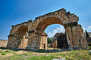 Picture of the Roman Basilica Baths. Hierapolis archaeological site near Pamukkale in Turkey. .<br /> <br /> If you prefer to buy from our ALAMY PHOTO LIBRARY  Collection visit : https://www.alamy.com/portfolio/paul-williams-funkystock/pamukkale-hierapolis-turkey.html<br /> <br /> Visit our TURKEY PHOTO COLLECTIONS for more photos to download or buy as wall art prints https://funkystock.photoshelter.com/gallery-collection/3f-Pictures-of-Turkey-Turkey-Photos-Images-Fotos/C0000U.hJWkZxAbg