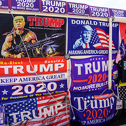Harrisburg, PA / USA - May 15, 2020: A large RV parked along a street at the capitol building displays Trump 2020 campaign signs.