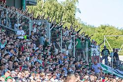09.08.2015, Stadion Lohmühle, Luebeck, GER, DFB Pokal, VfB Luebeck vs SC Paderborn 07, 1. Runde, im Bild Luebecks Fans treiben ihre Mannschaft voran // during German DFB Pokal first round match between VfB Luebeck vs SC Paderborn 07 at the Stadion Lohmühle in Luebeck, Germany on 2015/08/09. EXPA Pictures © 2015, PhotoCredit: EXPA/ Eibner-Pressefoto/ KOENIG<br /> <br /> *****ATTENTION - OUT of GER*****