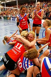 20150425 NED: Eredivisie VC Sneek - Eurosped, Sneek<br />Vreugde bij de speelsters van VC Sneek<br />©2015-FotoHoogendoorn.nl / Pim Waslander