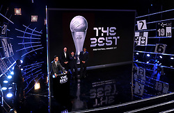Cristiano Ronaldo accepts the award for FIFA Men's Player of the Year during the Best FIFA Football Awards 2017 at the Palladium Theatre, London.