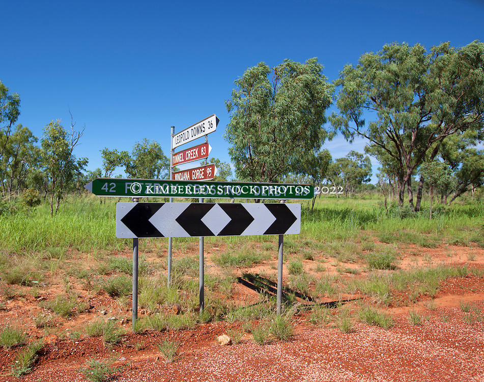 The turnoff to Tunnel Creek and Windjana Gorge from the main highway to Fitzroy Crossing.