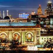 Kansas City MO skyline and Union Station at dusk from Liberty Memorial.
