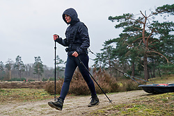 Loes in training for the Camino 2020 at the Soesterduinen on March 08, 2020 in Soest, Netherlands