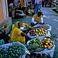 Asia, India, Jaipur. Street market vendor pf produce in jaipur.