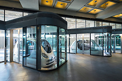 Personal Rapid Transport (PRT) cars at Institute of Science and Technology at Masdar City in Abu Dhabi United Arab Emirates