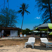 Wooden beach beds near Le Le Bar on Ong Lang beach, Phuquoc, Vietnam