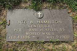 31 August 2017:   Veterans graves in Park Hill Cemetery in eastern McLean County.<br /> <br /> Joe B Hamilton  Kentucky  Private  Base Hospital 53  World War I  Feb 4 1896  May 9 1960