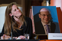 © Licensed to London News Pictures . 18/11/2014 . Kent , UK . Kelly Tolhurst ( Conservative candidate ) next to a cardboard poster of UKIP candidate Mark Reckless , who didn't attend , at a hustings in the Rochester and Strood by-election , held at the Corn Exchange in Rochester , this evening ( 18th November 2014 ) . Photo credit : Joel Goodman/LNP