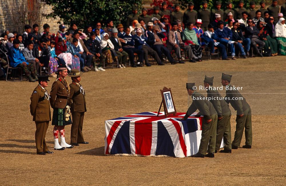 Officers watch new recruits swear allegiance to the Queen in British Royal Gurkha Regiment Pokhara camp, Nepal..