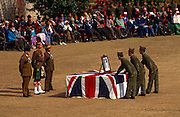 Officers watch new recruits swear allegiance to the Queen in British Royal Gurkha Regiment Pokhara camp, Nepal..