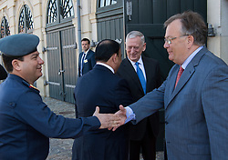 Secretary of Defense Jim Mattis and Danish Minister of Defence Claus Hjort Frederiksen welcome Arfan al-Hayali, Iraq's minister of defence, and his staff to a Global Coalition on the Defeat of ISIS meeting at Eigtveds Pakhus in Copenhagen, Denmark, May 9, 2017. (DOD photo by U.S. Air Force Staff Sgt. Jette Carr)