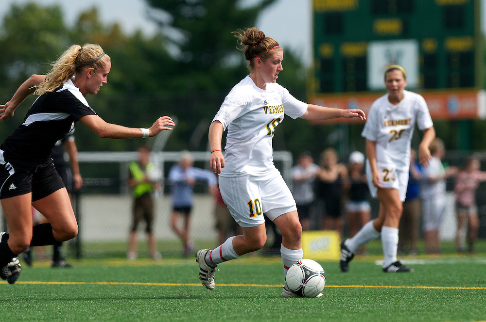Vermont midfielder Kerry Glynn (10) in action during the women's soccer game between the Brown Bears and the Vermont Catamounts at Virtue Field on Saturday afternoon September 8, 2012 in Burlington, Vermont.