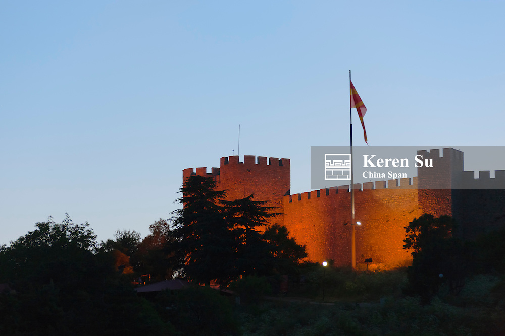 Night view of Tsar Samuil's Fortress with national flag, Ohrid, Republic of Macedonia