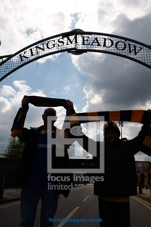 Picture by Andrew Tobin/Focus Images Ltd +44 7710 761829.27/04/2013. Clouds form behind the Kingsmeadow sign at the entrance to the AFC Wimbledon ground before the npower League 2 match at the Cherry Red Records Stadium, Kingston.