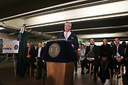HARLEM, NEW YORK- JANUARY 4: New York City Mayor Bill De Blasio along with New York City Speaker of the Council Corey & Interim Public Advocate, New York City Council Member & New York York City Majority Leader Laurie Cumbo New York Council Member Ydanis Rodriguez, New York City Council Member Steve Levin and others attend the launch for the FAIR FARES NYC for Low Income New Yorkers on January 4, 2018, 2018 at the 125th Street A/C/B Train station in the Harlem section of New York City.  (Photo Credit: Terrence Jennings/terrencejennings.com)