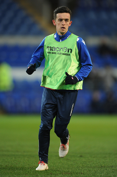 Bolton Wanderers' Zach Clough during the pre-match warm-up <br /> <br /> Photographer Kevin Barnes/CameraSport<br /> <br /> The EFL Sky Bet Championship - Cardiff City v Bolton Wanderers - Tuesday 13th February 2018 - Cardiff City Stadium - Cardiff<br /> <br /> World Copyright © 2018 CameraSport. All rights reserved. 43 Linden Ave. Countesthorpe. Leicester. England. LE8 5PG - Tel: +44 (0) 116 277 4147 - admin@camerasport.com - www.camerasport.com