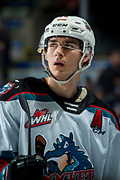 KELOWNA, BC - FEBRUARY 8: Dillon Hamaliuk #22 of the Kelowna Rockets stands at the bench during a time out against the Portland Winterhawks at Prospera Place on February 8, 2020 in Kelowna, Canada. Hamaliuk was selected in the 2019 NHL entry draft by the San Jose Sharks. (Photo by Marissa Baecker/Shoot the Breeze)