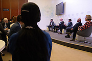 """Michael G. Jacobides, Sir Donald Gordon Chair of Entrepreneurship and Innovation, London Business School, United Kingdom, Sebastian Wedeniwski, Chief Technology Strategist, Standard Chartered Bank, Singapore,  Andrew Vaz, Global Managing Partner, Chief Innovation Officer, Deloitte, USA, Richard """"Dick"""" Daniels, Executive Vice-President; Chief Information Officer, Kaiser Permanente, USA and Leanne Kemp, Chief Executive Officer and Founder, Everledger, United Kingdom during the session: The Future Is Platforms at the World Economic Forum - Annual Meeting of the New Champions in Tianjin, People's Republic of China 2018.Copyright by World Economic Forum / Greg Beadle"""