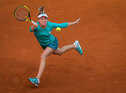May 4, 2019 - Madrid, MADRID, SPAIN - Aliaksandra Sasnovich of Belarus in action during her first-round match at the 2019 Mutua Madrid Open WTA Premier Mandatory tennis tournament (Credit Image: © AFP7 via ZUMA Wire)
