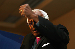 Archbishop Emeritus Desmond Tutu drives home a point during his keynote address at the opening of the South African Council of Churches Triennial National Conference in Johannesburg, Monday, 16 July 2007. Picture: Werner Beukes/SAPA