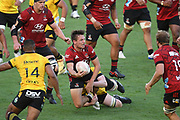 Crusaders George Bridge looks for support in the Super Rugby match, Hurricanes v Crusaders, Sky Stadium, Wellington, Sunday, April 11, 2021. Copyright photo: Kerry Marshall / www.photosport.nz