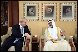 The London Mayor Boris Johnson with  H.H Sheikh Nahyan bin Mubarak Al Nahyan, Minister of Culture and Youth  in Adu Dhabi. The Mayor is on a 2 day tour of the UAE, Monday April 15, 2013. Photo By Andrew Parsons / i-Images