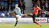 Blackpool's Brad Potts plays the ball forward<br /> <br /> Photographer David Shipman/CameraSport<br /> <br /> The EFL Sky Bet League Two - Luton Town v Blackpool - Saturday 1st April 2017 - Kenilworth Road - Luton<br /> <br /> World Copyright © 2017 CameraSport. All rights reserved. 43 Linden Ave. Countesthorpe. Leicester. England. LE8 5PG - Tel: +44 (0) 116 277 4147 - admin@camerasport.com - www.camerasport.com