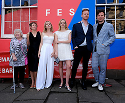 Edinburgh International Film Festival 2019<br /> <br /> Hurt By Paradise (World Premiere)<br /> <br /> Stars and guests arrive on the red carpet for the world premiere<br /> <br /> Pictured: (l to r) Veronica Clifford, Camilla Rutherford, Director Greta Bellamacina, Tanya Burr, Stanley Eldridge and Robert Montgomery<br /> <br /> Aimee Todd   Edinburgh Elite media