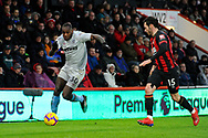 Michail Antonio (30) of West Ham United on the attack during the Premier League match between Bournemouth and West Ham United at the Vitality Stadium, Bournemouth, England on 19 January 2019.