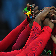 Basketball - Olympics: Day 16  USA players embrace after the medal presentation during the USA Vs Serbia Men's Basketball Gold Medal game at Carioca Arena1on August 21, 2016 in Rio de Janeiro, Brazil. (Photo by Tim Clayton/Corbis via Getty Images)