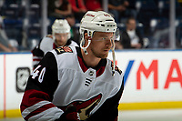 KELOWNA, BC - SEPTEMBER 29:  Michael Grabner #40 of the Arizona Coyotes warms up against the Vancouver Canucks at Prospera Place on September 29, 2018 in Kelowna, Canada. (Photo by Marissa Baecker/NHLI via Getty Images)  *** Local Caption *** Michael Grabner;