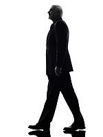 One Caucasian Senior Business Man walking Silhouette White Background