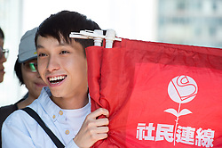 October 13, 2017 - Hong Kong, Hong Kong SAR, China - Activist Figo Chan of The League of Social Democrats joins.protesters outside the High Court in Hong Kong to hear further court decisions related to the occupy moment of 2014..The court convicted 20 activists, including student leader Joshua Wong, for defying authorities trying to clear a protest site. (Credit Image: © Jayne Russell via ZUMA Wire)