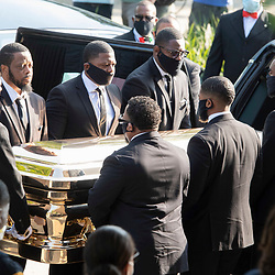 The casket of GELRGE FLOYD arrives at Fountain of Praise Church in suburban Houston June 9, 2020 for a private funeral service followed by burial in Pearland. Thousands turned out for a public viewing yesterday.