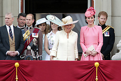 (left to right) The Duke of York, The Earl of Wessex, Princess Beatrice of York, Princess Eugenie of York, The Duchess of Cornwall, The Duchess of Cambridge and Prince Harry on the balcony of Buckingham Palace, in central London, following the Trooping the Colour ceremony at Horse Guards Parade as the Queen celebrates her official birthday today.