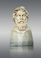 Roman marble sculpture bust of Antisthenes, 2nd century AD copy from an original 340-330 BC Hellanistic Greek original, inv 6159, Naples Museum of Archaeology, Italy ..<br /> <br /> If you prefer to buy from our ALAMY STOCK LIBRARY page at https://www.alamy.com/portfolio/paul-williams-funkystock/greco-roman-sculptures.html . Type -    Naples    - into LOWER SEARCH WITHIN GALLERY box - Refine search by adding a subject, place, background colour, etc.<br /> <br /> Visit our ROMAN WORLD PHOTO COLLECTIONS for more photos to download or buy as wall art prints https://funkystock.photoshelter.com/gallery-collection/The-Romans-Art-Artefacts-Antiquities-Historic-Sites-Pictures-Images/C0000r2uLJJo9_s0