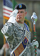 A U.S. Army Soldier during a change of command at Fort Riley, Kansas
