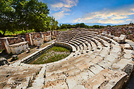 Odeon (Concert-hall) seating  around 1700 people. It was used also as the Bouleuterion for the meetings of the Senate and remained in this form until the early fifth century.<br /> <br /> Aphrodisias Archaeological Site, Aydin Province, Turkey. .<br /> <br /> If you prefer to buy from our ALAMY PHOTO LIBRARY  Collection visit : https://www.alamy.com/portfolio/paul-williams-funkystock/aphrodisias-site-turkey.html<br /> <br /> Visit our TURKEY PHOTO COLLECTIONS for more photos to download or buy as wall art prints https://funkystock.photoshelter.com/gallery-collection/3f-Pictures-of-Turkey-Turkey-Photos-Images-Fotos/C0000U.hJWkZxAbg