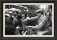 Series of 7 Black and White Photographes Depicting Brick Lane Market London,  2 feb 1984<br />