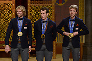 Officiele Huldiging van de Olympische medaillewinnaars Sochi 2014 / Official Ceremony of the Sochi 2014 Olympic medalists.<br /> <br /> Op de foto: Schaatsers Michel Mulder, Stefan Groothuis en Jorrit Bergsma krigen de onderscheiding van Ridder in de Orde van Oranje-Nassau