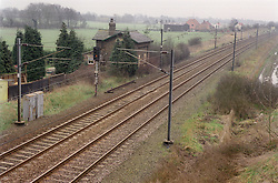 Aerial view of railway track running through countryside,