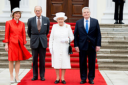Buckingham Palace has announced Prince Philip, The Duke of Edinburgh, has passed away age 99 - FILE - Queen Elizabeth II and Prince Philip are greeted by German President Joachim Gauck and his partner Daniela Schadt outside the Bellevue Palace in Berlin, Germany, June, 24, 2015. Queen Elizabeth II and the Duke of Edinburgh arrived for their fifth state visit to Germany, taking place from June 23 to 26. Photo by Robin Utrecht/ABACAPRESS.COM