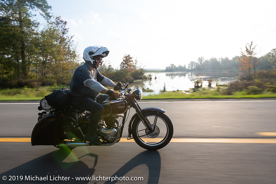 Texan Stewart Garrison riding his 1948 restored Twin Cylinder Triumph in the Cross Country Chase motorcycle endurance run from Sault Sainte Marie, MI to Key West, FL. (for vintage bikes from 1930-1948). Stage-7 covered 249 miles from Macon, GA to Tallahassee, FL USA. Thursday, September 12, 2019. Photography ©2019 Michael Lichter.