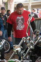 Roadside Marty Davis at the Cycle Source bike show at the Broken Spoke Saloon during Daytona Beach Bike Week. FL. USA. Tuesday, March 14, 2017. Photography ©2017 Michael Lichter.