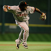 Aug 20, 2011; Houston, TX, USA; San Francisco Giants third baseman Pablo Sandoval (48) throws out a runner against the Houston Astros in the third inning at Minute Maid Park. Mandatory Credit: Thomas Campbell-US PRESSWIRE