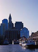 Skyline of downtown Boston viewed from Boston Inner Harbor, Massachusetts.