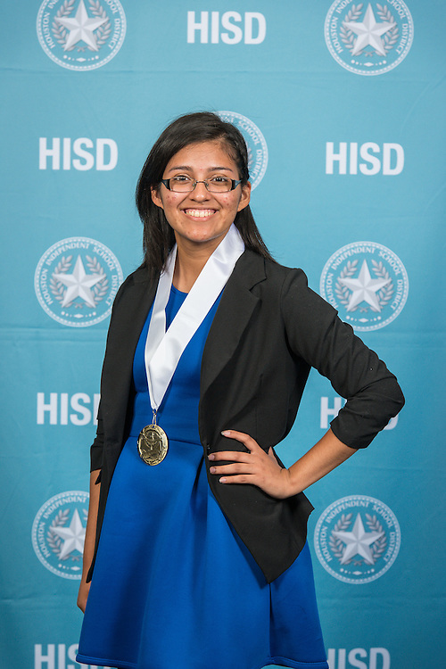 Irasema Cruz-Lopez poses for a photograph during the Scholars banquet, April 12, 2016.