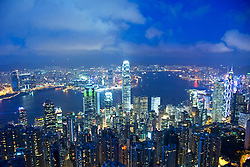 Evening cityscape of famous skyline of Hong Kong